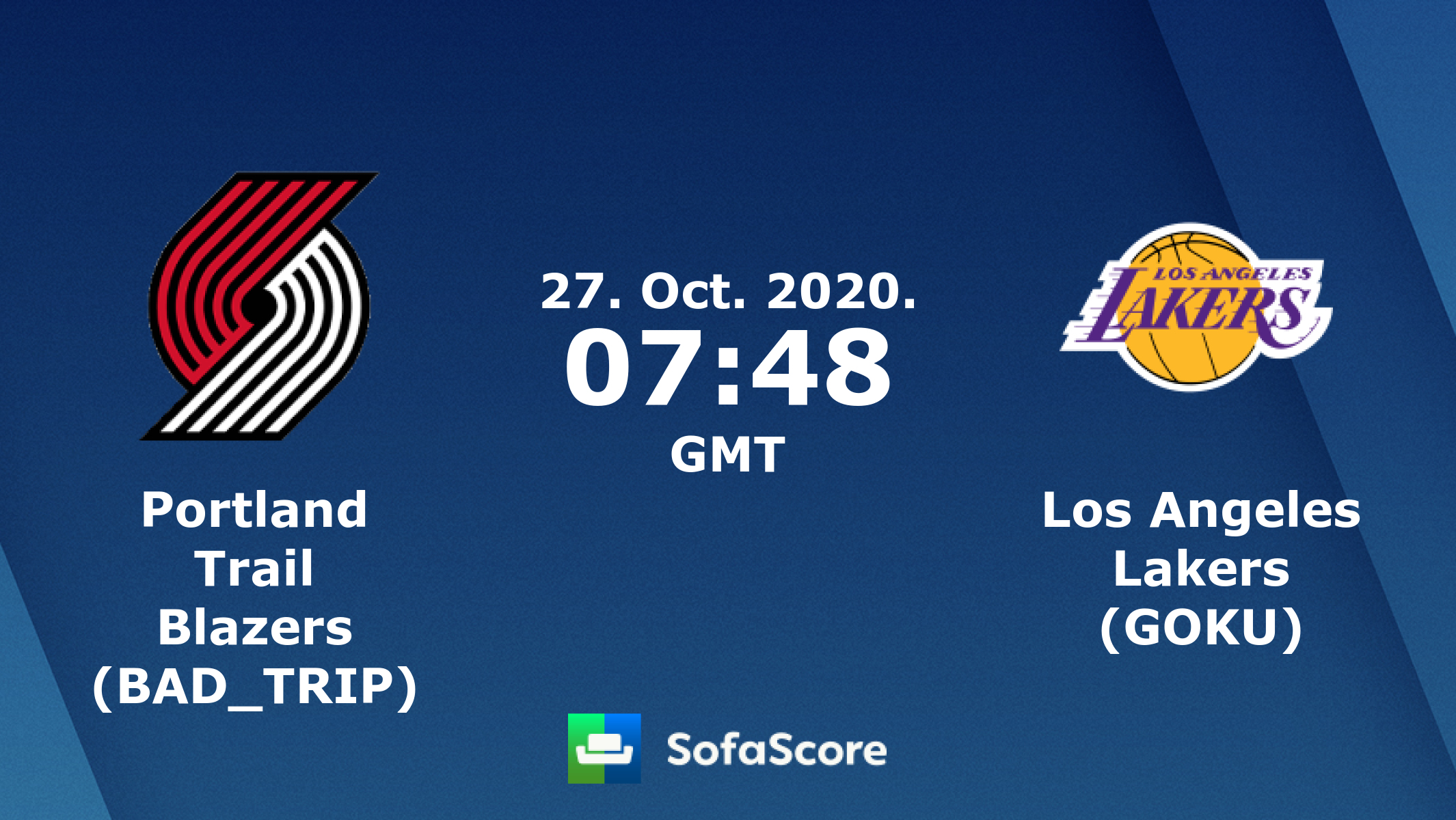 Portland Trail Blazers Bad Trip Los Angeles Lakers Goku Live Score Video Stream And H2h Results Sofascore