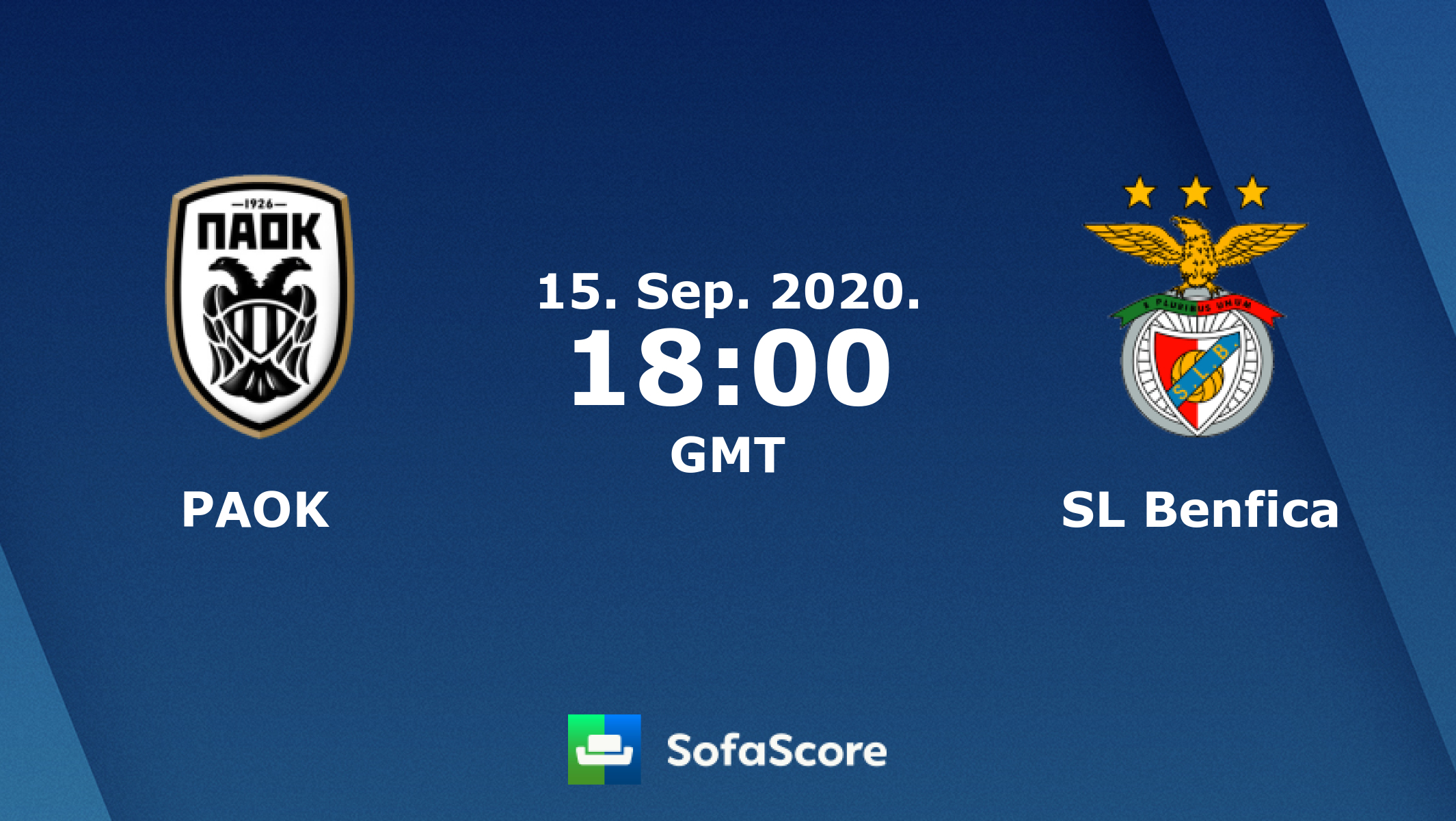 PAOK SL Benfica live score, video stream and H2H results - SofaScore