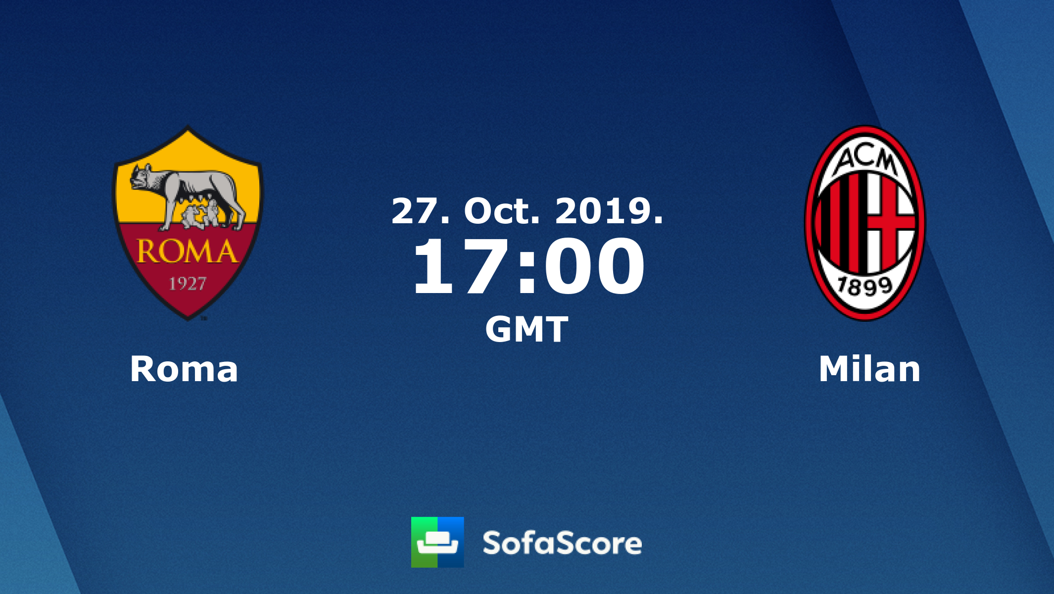Roma Milan live score, video stream and H2H results - SofaScore