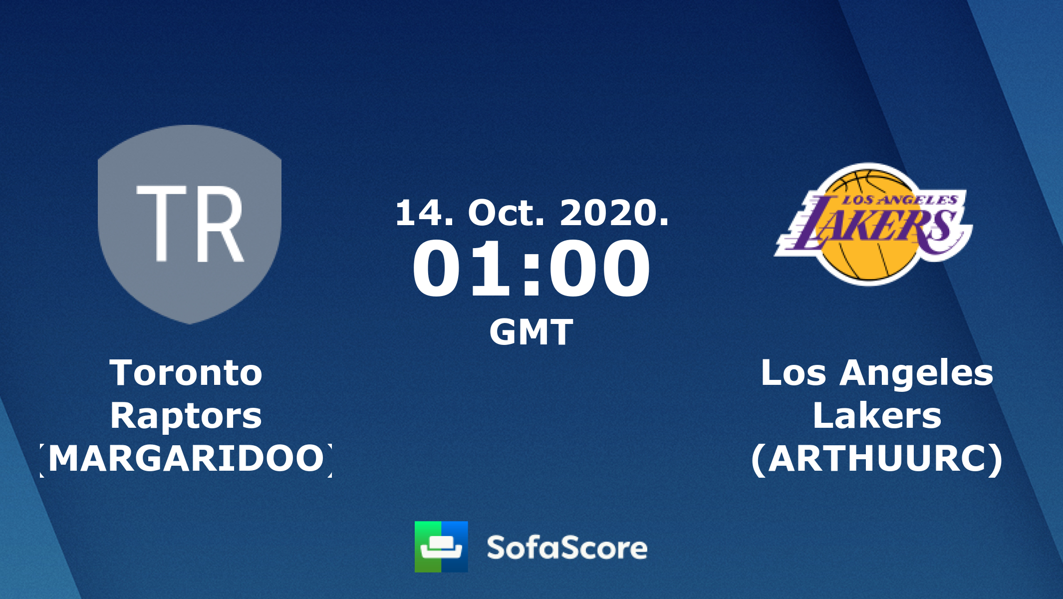 Toronto Raptors (MARGARIDOO) Los Angeles Lakers (ARTHUURC) live score,  video stream and H2H results - SofaScore