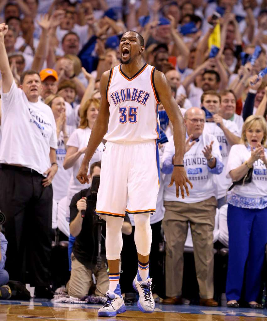 ba597c49360 Kevin Durant matches a playoff career high 41 points to lead the Thunder  past the Spurs