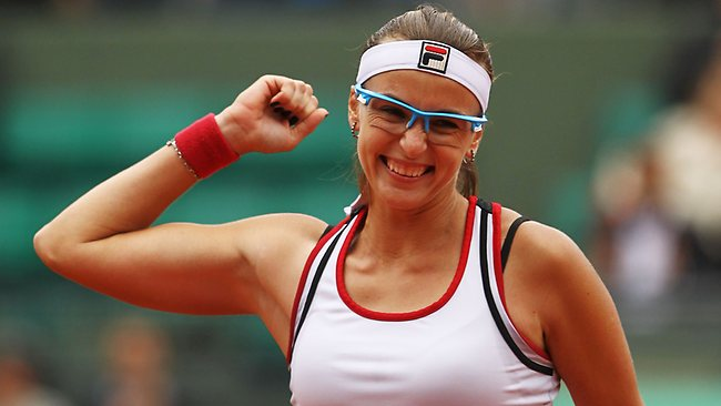 Yaroslava Shvedova celebrates her second round upset.
