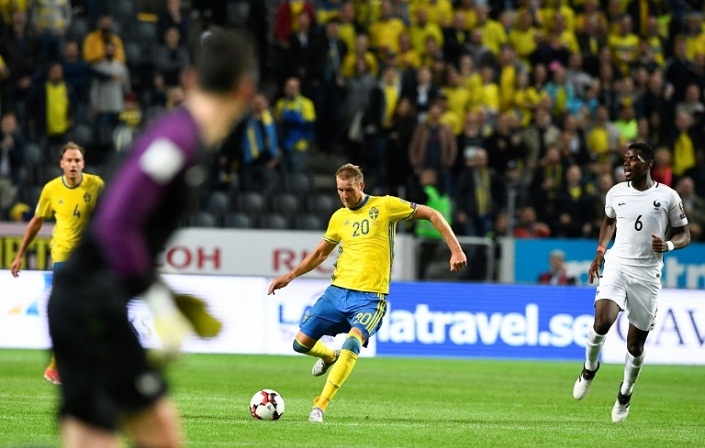 Sweden beat France with dramatic shot from half-way line